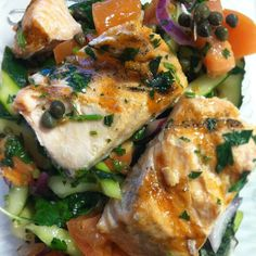 Salmon, Capers, and Raw Veggies