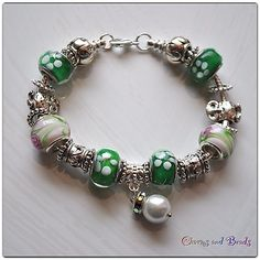 European Style Fashion  Beads  Bracelet, green, flowers, no pandora