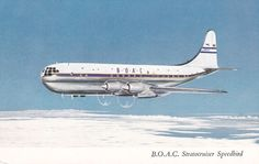 B.O.A.C. Stratocruiser airplane inflight , 1950s