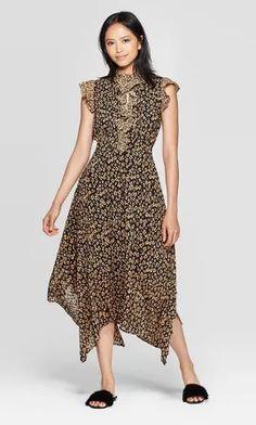 Women's Leopard Print Sleeveless Deep V-Neck Midi Dress - Who What Wear Black XS, Women's Casual Dresses, Dresses For Work, Women's Dresses, V Neck Midi Dress, Shower Dresses, Wearing Black, Who What Wear, Short Sleeve Dresses, Fashion Outfits