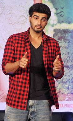 Arjun Kapoor was dressed in a regular plaid shirt over jeans at the music launch of Finding Fanny. #Bollywood #Fashion #Style #Handsome