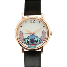 Disney Lilo & Stitch Nerdy Stitch Watch | Hot Topic ($15) ❤ liked on Polyvore featuring jewelry, watches, lilo and stitch, disney watches, vegan jewelry, black wrist watch, kohl jewelry and black watches