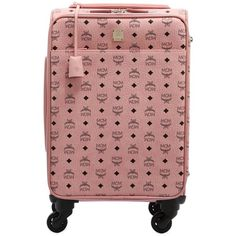 Mcm Women Small Carry-on Suitcase ($1,960) ❤ liked on Polyvore featuring bags, luggage and pink