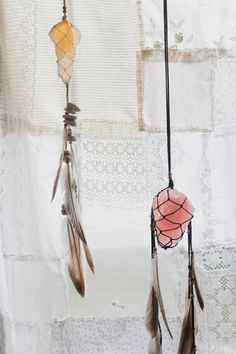 Alternative dream catcher. Crystal and feathers. Home for the Holidays by Blog.SoulMakes.com