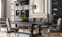 "restoration+hardware+rooms   Belgian Textured Linen Grommeted Drapery 108""X50"" Fog"