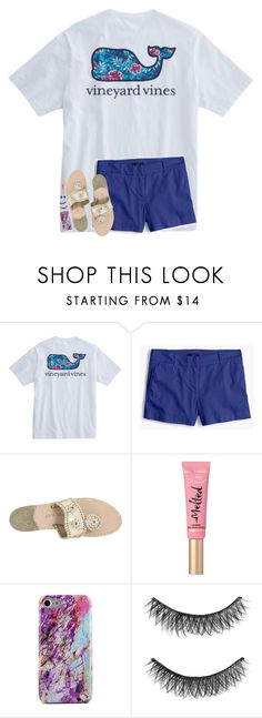 """""""beach vibes🤙🏼🌸🌺"""" by hgw8503 ❤ liked on Polyvore featuring J.Crew, Jack Rogers, Too Faced Cosmetics, Illamasqua and Kendra Scott"""