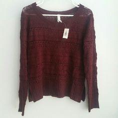 Maroon crochet knit sweater Perfect condition Aeropostale Sweaters Crew & Scoop Necks
