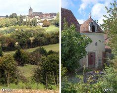 Take me, please.  Vue sur Bellême et le clocher Saint-Sauveur avec sa toiture à l'impériale coiffée d'un lanternon et petite tourelle dans le jardin de la maison d'hôtes 'Hôtel de Suhard'