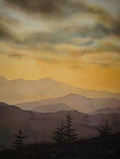 Watercolor landscape mountains evening:
