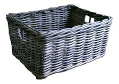 Grey rattan wicker deep rectangle #storage basket #kitchen #drawer  log kindling,  View more on the LINK: http://www.zeppy.io/product/gb/2/371860691235/