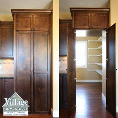 A walk through pantry offers a seamless look within the kitchen but maximum storage space in the pantry within.