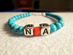 SALE UNTIL NOV 1st Mens bracelet NA with turquoise beads 4mm accented by ShellB143, $24.00