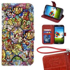 Samsung Galaxy S5 Wallet Case, Onelee - Disney all characters Premium PU Leather Case Wallet Flip Stand Case Cover for Samsung Galaxy S5 with Card Slots