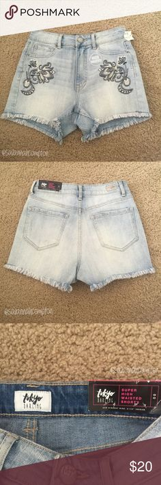"""NWT Aeropostale Jean Shorts A new with tags pair of jean shorts (In the style """"Hi Wasted Shorty"""" by Aeropostale in the size 00. They are a light wash with floral blue lace detailing. They have never been worn and are in excellent condition. Don't be scared to make an offer, you never know if you don't try.   Thank you for visiting my closet! I am a smoke free and cat free home. I considered offers and I do not trade. Aeropostale Shorts Jean Shorts"""