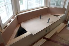 Building a Window Seat with Storage in a Bay Window - Pretty Handy Girl Bay Window Storage, Bay Window Benches, Window Seats, Bay Window Living Room, Window Seat Kitchen, Kitchen Nook, Bedroom Built Ins, Banquette Seating In Kitchen, Beige Living Rooms