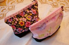 Floral Eyelet Cosmetic Bags 5x7 by MistyMeadowTreasures on Etsy