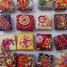 Embroidered Magnets embroidery on printed fabrics Fabric Beads, Fabric Art, Fabric Crafts, Sewing Crafts, Art Textile, Textile Jewelry, Fabric Jewelry, Jewellery, Embroidery Applique