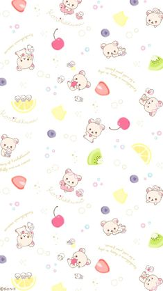 Cute Pastel Wallpaper, Cute Wallpaper For Phone, Kawaii Wallpaper, Cute Wallpaper Backgrounds, Pretty Wallpapers, Cellphone Wallpaper, Iphone Wallpaper, Rilakkuma, Kawaii Drawings