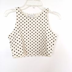 Aritzia Cream/Navy Polka Dot Crop Top A cute polka dot crop top in a comfy material with a bit of stretch. An easy to wear basic perfect for high waisted jeans, and skirts. By Talula. Worn once. Aritzia Tops Crop Tops