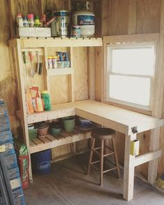 Potting Shed - simple interior design for storage and functionality if you're limited on space