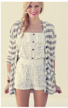 This looks like such a cute outfit to run around in this summer!  I absolutely love the lace jumper...so fun!