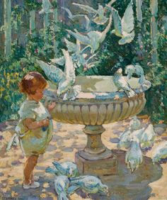 DOROTHEA SHARP (British, 1874-1955)  At the Fountain  Oil on canvas