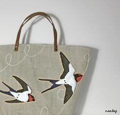 Swallow felt applique bag by e.no.bag (tori no bag …tsubame) ツバメ フェルト アップリケ バッグ