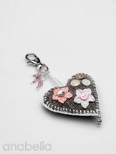 heart crochet key chain