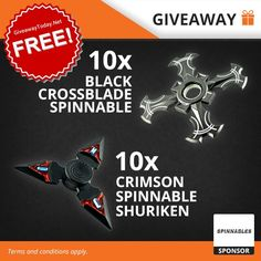 Win a 20 Fidget Spinner Giveaway: 10 x Black Crossblade, 10 x Crimson Shuriken Shuriken, Inspire Me, Projects To Try, Geek Stuff, How To Apply, Taps, Giveaways, Free, Coupons