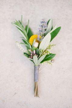 Wedding Inspiration - simple gathered boutonniere