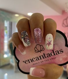 Sophisticated Nails, Stylish Nails, French Tip Acrylic Nails, Cute Acrylic Nails, Gorgeous Nails, Pretty Nails, Pink Summer Nails, Mermaid Nails, Pretty Nail Designs
