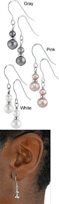 Sterling & Freshwater Pearl Double Drop Earrings at The Animal Rescue Site $14.95 ea