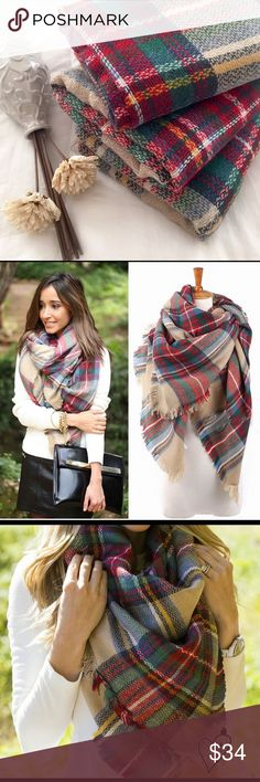 """Tartan Plaid Blanket Scarf/Wrap ✨HOST PICK✨📍PRICE FIRM📍 Stylish and Cozy, this oversized scarf is a perfect addition to your fall/winter wardrobe. It goes well with everything. A must have 🍁🍂❄️ 58""""x54"""" Same style as Zara and Francesca's scarf - Actual scarf shown in second picture Boutique Accessories Scarves & Wraps"""