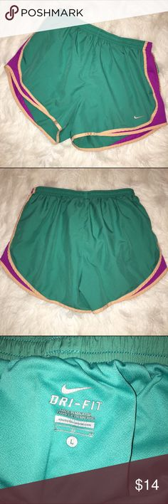 Nike Tempo Shorts Perfect condition! Teal with purple trim. Nike Shorts