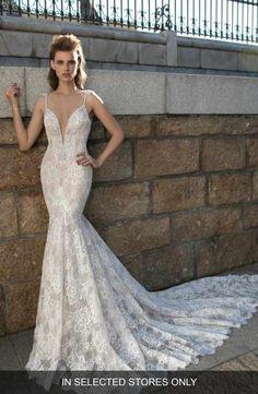 Berta Plunging V-Neck Beaded Lace Dress