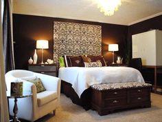 Gorgeous Chocolate Brown Master Bedroom With Dark Storage Fluffy Rug ...