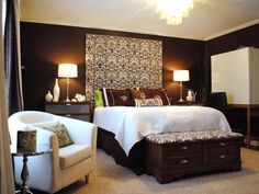 Warm and Welcoming    Rate My Space user DPJohnson used a color palette of deep, chocolate browns to create a rich, inviting bedroom. The crisp, white bedding and bright green accents keep the space from feeling too dark.    HGTV Idea