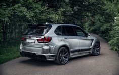 Download wallpapers BMW X5, 2018, a luxury silver SUV, tuning X5, German cars, BMW
