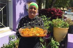 """Cape Malay cooking teacher Faldela Tocker, with a dish of pickled fish. """"Once it's pickled, it needs to sit for the flavors to develop,"""" she says. Easter Recipes, New Recipes, Snack Recipes, Cooking Recipes, Recipies, Snacks, South African Dishes, South African Recipes, Ethnic Recipes"""