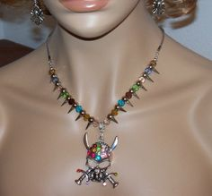 Goth Skull and Spike Steampunk Necklace and by MyJannyMarie, $38.00