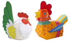 These cute decorative paper toys of a Chicken and a Rooster  were created by Japanese designer Ayumu Saito  and Craft Pocket Studio , comi...
