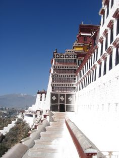Climbing up to the top of Potala Palace in Lhasa Tibet