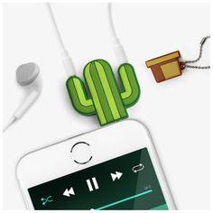 Ecoutez de la musique avec un ami Parfait pour les longs voyages Mignon et pratique En forme de cactus #cactus #desert #music #musique #ecouteur
