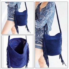 """Urban Outfitter Ecote Blue Suede Fringe Bucket Bag Boho suede bucket bag with fringe lining the sides that's perfect for every day, by Ecote and only at UO. Features a long shoulder strap with adjustable buckle, an interior zip accessories pocket and zip closure. SOLD OUt  Content + Care - Suede - Spot clean - Imported  Size - Height: 10.5"""" - Width: 13"""" - Strap drop: 21"""" Urban Outfitters Bags Crossbody Bags"""
