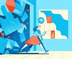罗盘 by Rune Fisker People Illustration, Business Illustration, Flat Illustration, Matte Painting, Storyboard, Mood Colors, Isometric Design, Character Design Animation, Environment Concept Art