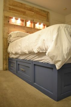 pallet headboard and platform storage bed