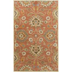 Including pale rust, pewter, and olive hues, the Phoebe Rug features traditional Oriental styling with a large-scale floral motif. Hand-tufted with soft 100% wool.