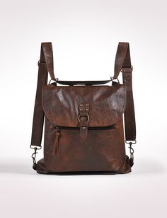 brown leather convertible bag with traditional purse style and easy convert.