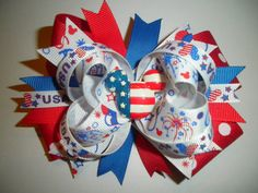 "Mickey Mouse Patriotic Hair Bow for  4th of July, Memorial Day From ""Hair Bow & Co."""