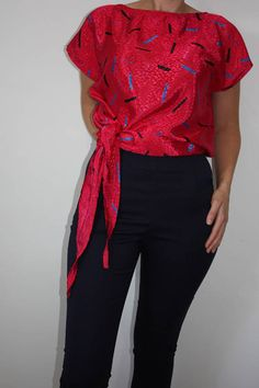 Vintage 80s hot pink gabi harkham tie-up top neon bright versatile multi-way silk satin blouse